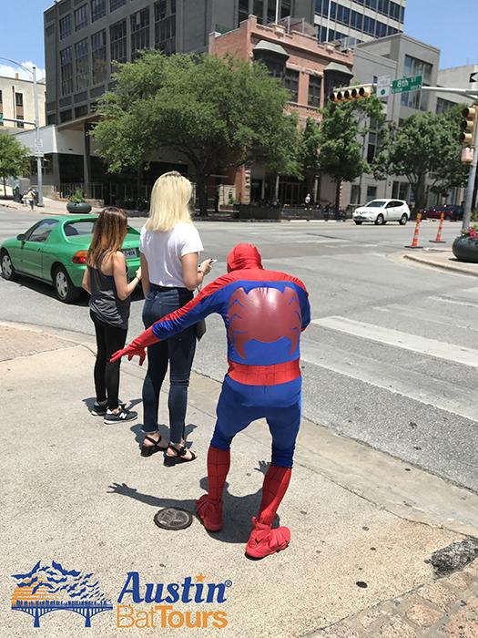 spider-man; spider man; spiderman; superhero; hero; female; pickup; downtown; austin; texas; tourist; tourism; austin bat tours; austinbattours.com; www.austinbattours.com