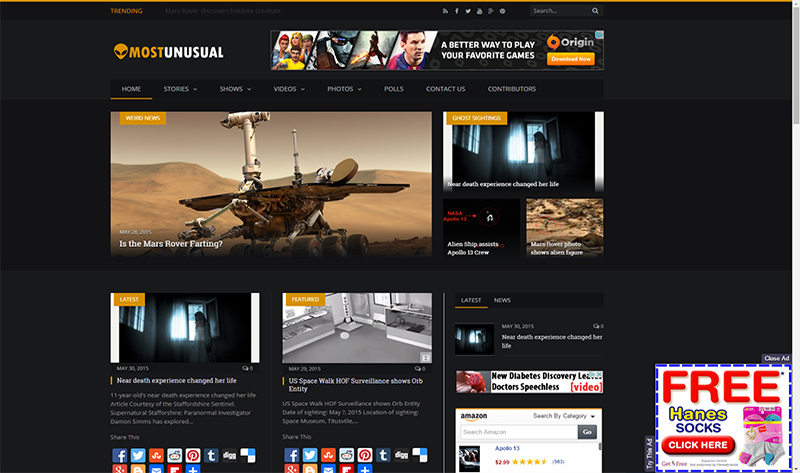 Most Unusual News Website http://www.mostunusual.com