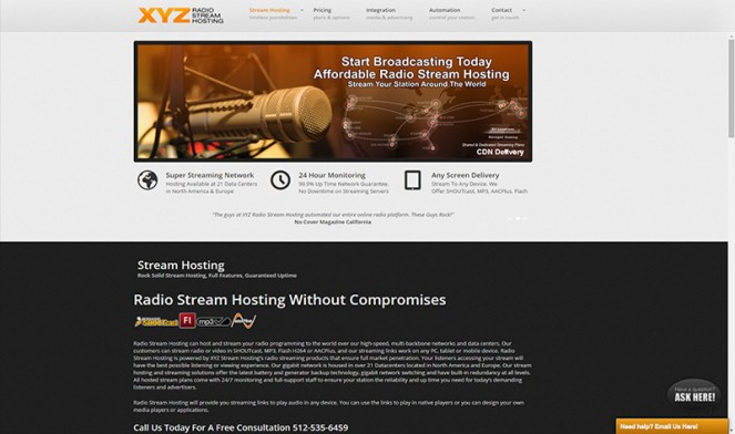 Radio Stream Hosting provider for internet radio stations www.radiostreamhosting.com