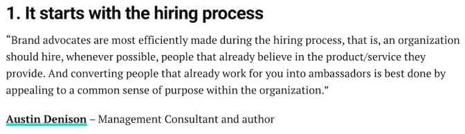 Brand advocacy starts with the hiring process.