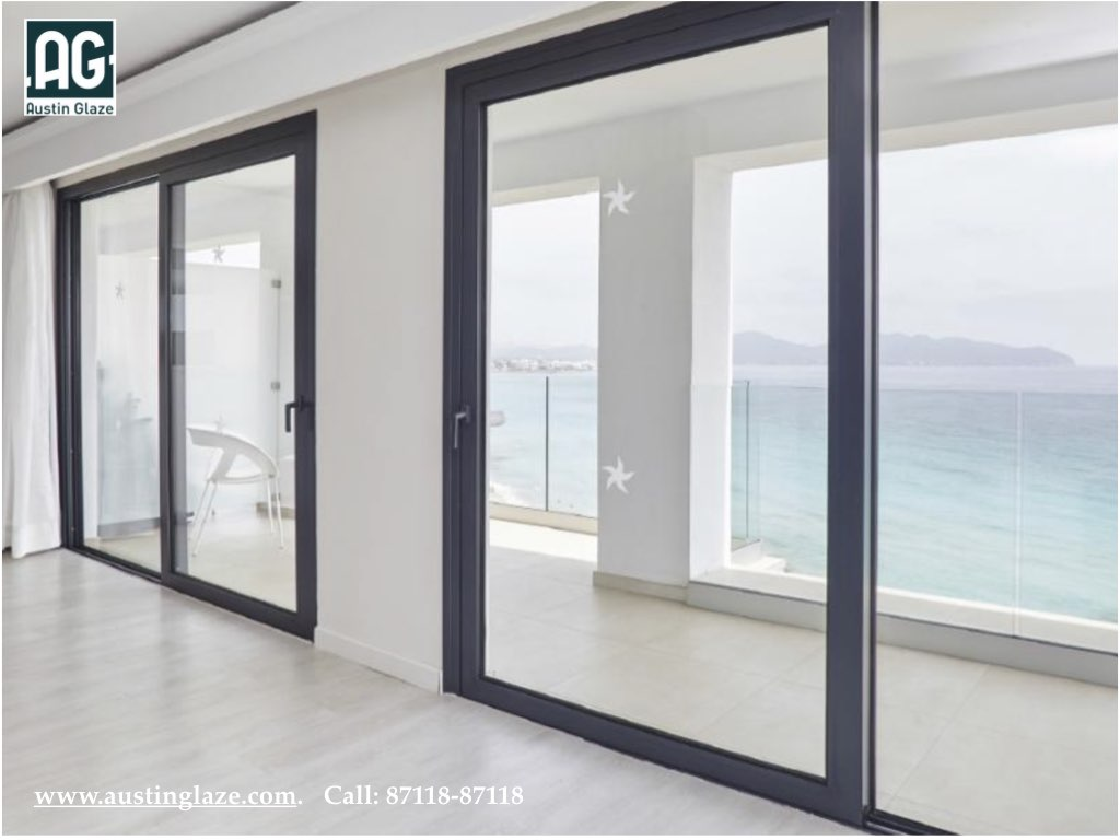 Austin Glaze Sliding Windows with Thermal Break Sections & Non Thermal Sections