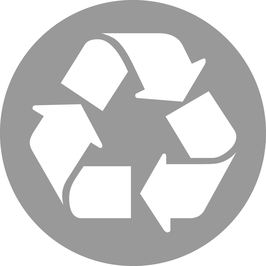 Grey and white graphic of recycling symbol