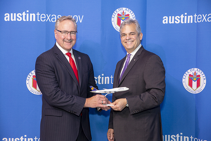 Matt Strong and Austin City Mayor Steve Adler