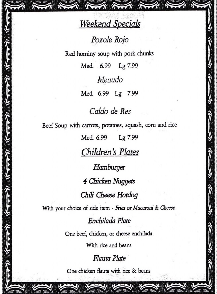 Chucho's Mexican Restaurant Menu