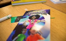Students received copies of The Magnificent Classroom last Friday, during a book launch party at Ella Flagg Young Elementary School in Austin. | ALEXA ROGALS/Staff Photographer