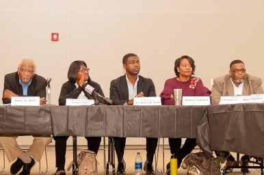 BRACING THEMSELVES: West Side politicians during an Oct. 4 press conference at Malcolm X College. | SHANEL ROMAIN/Contributor