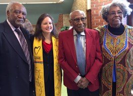 SAGE COMPANY: Rep. Danny K. Davis; Rev. Colleen Vahey, pastor of Third Unitarian Church; historian and guest speaker Timuel Black; and church member Betty Harris after Black's talk at Third Unitarian on Jan. 20. | BONNIE McKEOWN/Contributor