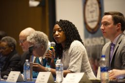 Mayoral candidate Amara Enyia answers a question on Saturday, Feb. 9, 2019, during the Chicago mayoral candidate forum at Malcolm X College in Chicago. The forum was put on by the Chicago Westside NAACP in partnership with Austin Coming Together. | ALEXA ROGALS/Staff Photographer