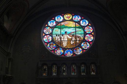 Sankofa-Peace Window, New Mount Pilgrims dedicated northern looking window honoring 2016 martyrdom. | SEBASTIAN HIDALGO/Contributor
