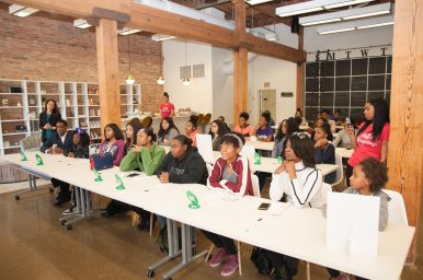 ALL ABOUT CONFIDENCE: Young women gather for a confidence-building session hosted by Harris in Chicago. | Shanel Romain/Contributor