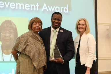 Mildred Wiley pictured with Darnell Shields, middle, and Donnita Travis, the founder and executive director of By The Hand Club for Kids. | Submitted photos