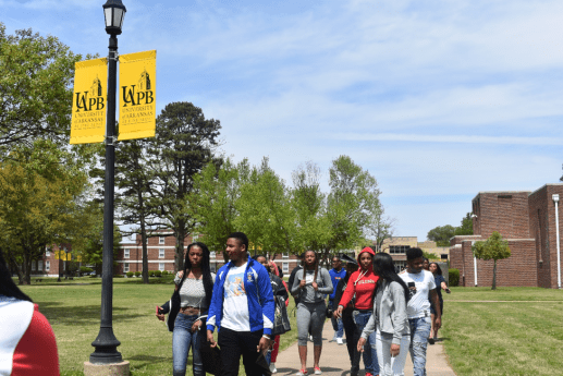 Students take in the surroundings while touring the University of Arkansas in Pine Bluff's campus. | Submitted photo