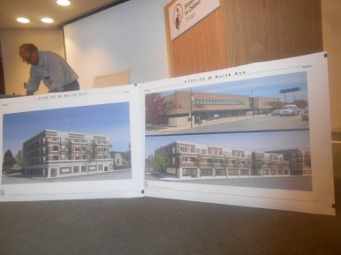 SOMETHING TO CONSIDER: Renderings of Five Thirty One Partners' proposed development on North Avenue shown during a July 17 community meeting at Chicago Shriner's Children's Hospital in Oak Park. | IGOR STUDENKOV/Contributor