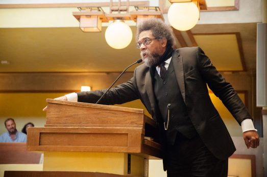 SOUNDING ALARM: Harvard philosophy professor Cornel West speaks out against President Donald Trump's immigration policies during a gathering at Unity Temple in Oak Park on Saturday. West was invited by the Leaders Network, a faith-based social justice organization comprising pastors from Chicago's West Side, Oak Park and River Forest. | SHANEL ROMAIN/Contributor