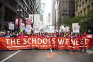 Protestors march in the loop on Oct. 17, during a rally held by the Chicago Teachers Union. | Photo by ALEX ROGALS/Staff Photographer