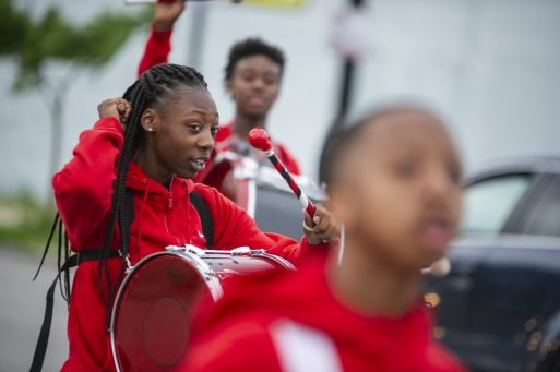 Participants drum on June 15, during the fifth annual African-American Awareness and Appreciation Parade Juneteenth Celebration on Madison Street on Chicago's Westside. | Photo by ALEX ROGALS/Staff Photographer