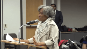 Valerie Leonard testifies at a CTA budget meeting in 2017 calling for the return of the Ogden bus. | Photo provided