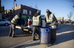 From left, Kobe Hendrix, Lawrence Johnson and Louis Darty, all Cleanslate By Cara crew members, prepare for roadside cleanup near the corner of Roosevelt Road and Austin Boulevard, on Feb. 19. | ALEX ROGALS/Staff Photographer