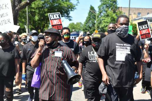 Around 500 people gathered for a peaceful protest march on June 7 that started on Division and Central in Austin and ended at the 15th District police station. The march was organized by area clergy. | Paul Goyette