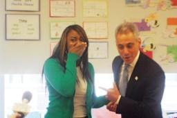 A happy classroom: Mayor Rahm Emanuel surprised teacher Monique Blakes in her classroom at Oscar DePriest Elementary School in May. Blakes is a 2012 Golden Apple award winner.