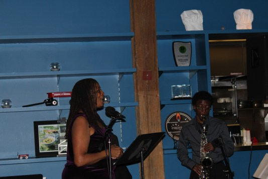 Poet Annette Britton is joined by saxophonist Jamal Crawford at a June 7 performance at Inspiration Kitchens, 3504 W. Lake St.Photos by DAISY WINFREY/Contributor