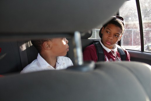 Nolan and Nikeal bicker during their 15-minute ride to St. Malachy School on Chicago's West Side.