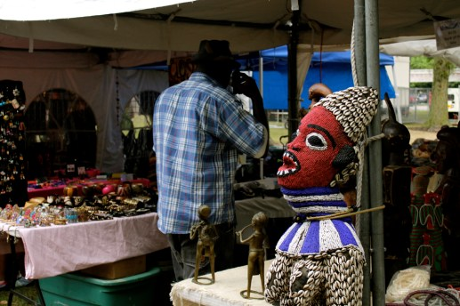 A traditional African art piece on display outside of one vendors tent. (ASHLEY LISENBY/digital editor)