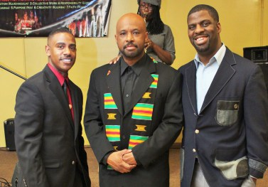 "Chicago TV personality Garrard McClendon, Sankofa owner Malcolm Crawford and Che ""Rhymefest' Smith. (Photo courtesy Sankofa Cultural Arts Center)"