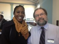 Amara Enyia, Austin Chamber of Commerce Executive Director and candidate for the Mayor of Chicago in 2015, with Thomas Jackson, ABC Branch Manager of the Lake Street location.