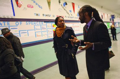 Chicago mayoral candidate Amara Enyia visiting Spencer Academy in Austin. (DAVID PIERINI/Staff Photographer)