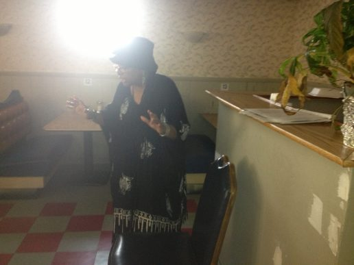 Momma Kemba impersonates a strong black women in African American History, complete with dramatic storytelling and song
