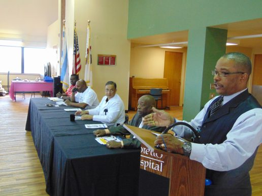 The 2014 West Side Men's Health Fair brought residents out to Loretto Hospital, 645 S. Central, Sept. 27. The morning and afternoon fair included a panel discussion on preventing health problems, on-site massages, and free blood pressure screenings. (Terry Dean/Staff)