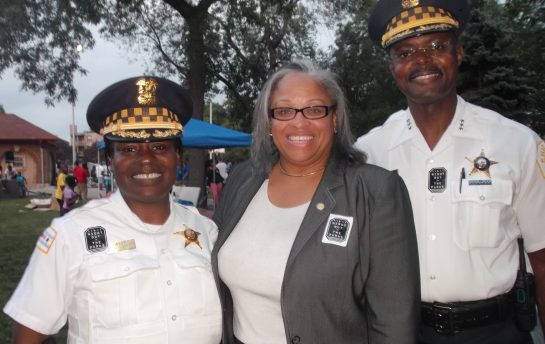 Current 15th District Commander Barbara West with 29th Ward Ald. Deborah Graham, and First Deputy Al Wysinger. (File)