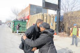 Rep. LaShawn Ford and Ruth Kimble hug Saturday, Jan. 31, outside of the office space Ford is donating to Kimble's nonprofit. (Courtesy of Rep. LaShawn Ford).