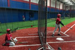 Players of the Garfield Park little league team during practice at the newly opened indoor baseball field located at UIC. (William Camargo/Contributor)