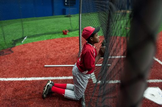 Eric Banks 12, of the Garfield Park little league team during practice at the newly opened indoor baseball located at UIC. (William Camargo/Contributor)