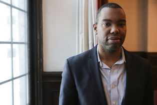 """Author Ta-Nehisi Coates, who wrote """"The Case for Reparations"""", speaks to students at Dominican University on Thursday, February 26, 2015. 