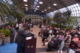 "Oaths: Ald. Jason Ervin (28th) gets emotional after acknowledging his family during a ""State of the 28th Ward"" address he delivered May 20 at Garfield Park Conservatory, 300 N. Central Avenue. (Photographer: Worsom Robinson)"