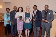ACT Board Vice President Ruth Kimble, ACT Board President Sharif Walker, Awardees Erica Swinney, Jacqueline Adams, Bradly Johnson and Kendall Reid