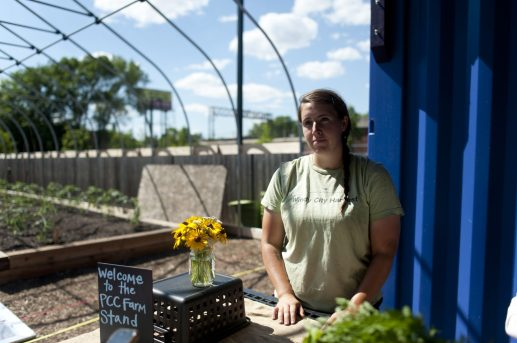 Brittany Calendo poses for a portrait at the Windy City Harvest location in Austin, in which community members are able to grow their own plot of goods, this is in collaboration with PCC Austin Family Health Center. | WILLIAM CAMARGO/Staff Photographer