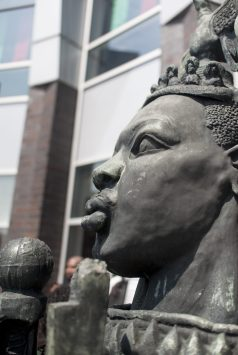 Oak Park native and esteem artist, Geraldine McCullough produced this sculpture of Martin Luther KIng that was unveiled at a celebration at West Side Health Authority in the corner of Chicago Ave and Cicero now know as Mandela road on July 18. | WILLIAM CAMARGO/Staff Photographer