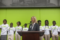 By The Hand founder and executive director Donnita Travis speaks. | WILLIAM CAMARGO/Staff Photographer