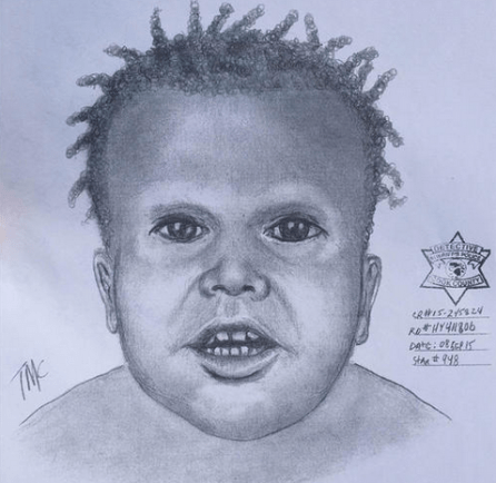 A composite sketch by Chicago police based on the remains of a toddler found in Garfield Park Lagoon last month.   CPD