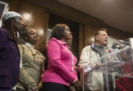 Father Michael Pfleger speaks during a press conference held Monday, Oct. 5, 2015, at his Rainbow/Push headquarters on the South Side. The leaders are calling for President Obama to convene a White House conference on gun violence in the city. | William Camargo/Wednesday Journal.