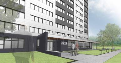 Architectural rendering of the renovated Fannie Mae apartments. | Holabird & Root.