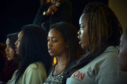 Student members of the HHW Vocal Arts Ensemble Group perform together after a surprise request by Chew on Saturday, Oct. 17, 2015 in East Garfield Park. | Sebastian Hidalgo/Contributor.