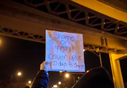 Protesters gather in the Loop on Nov. 24 in response to the release of video footage that shows the murder of 17-year-old Laquan McDonald last October. McDonald was shot 16 times by a Chicago police officer. | William Camargo/Staff.