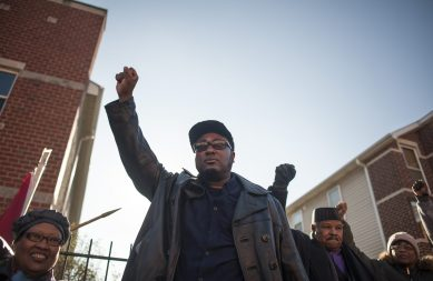 Fred Hampton, Jr., in front of the site where his father was murdered on Dec. 4, 1969. Each year on that day, supporters gather in front of 2337 W. Monroe St. to commemorate the killing. | William Camargo/Staff.