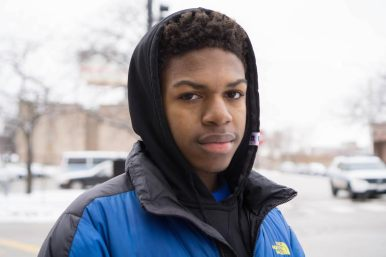 Evan Wimberly, 15, outside of the 11th District police station on the West Side after a Dec. 30 press conference. | James Schumer/Contributor.