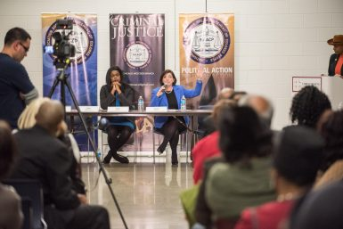 State's attorney candidate Donna More answers questions at the Primary Cook County State's Attorney Forum at Christ the King Jesuit College Preparatory School hosted by the Chicago Westside NAACP Branch on Feb. 5.